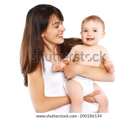 Cheerful mother and baby - stock photo