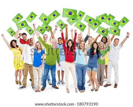 Cheerful Multi-Ethnic Group Of People Holding Brazilian Flag