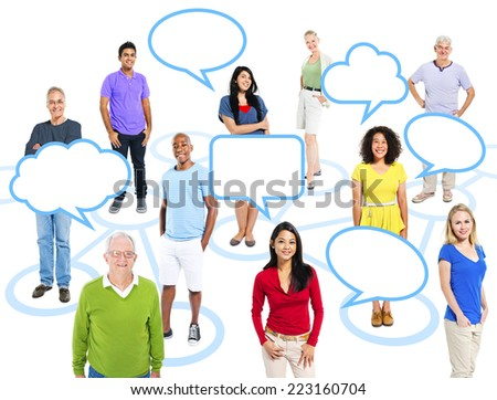 Cheerful Multi-Ethnic Group Of People Standing Individually In A Circle Which Connects To Others With Empty Speech Bubbles Above.