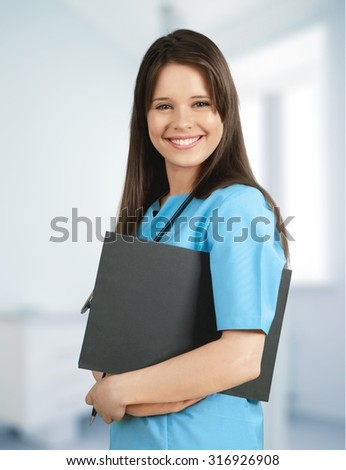 Cheerful Nurse. - stock photo