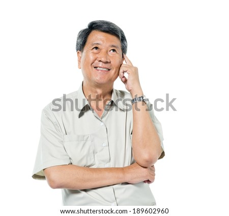 Cheerful Old Asian Man Thinking - stock photo