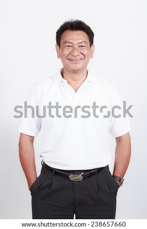 Cheerful old man on white background - stock photo