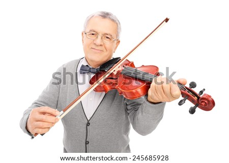 Cheerful old man playing a violin isolated on white background - stock photo