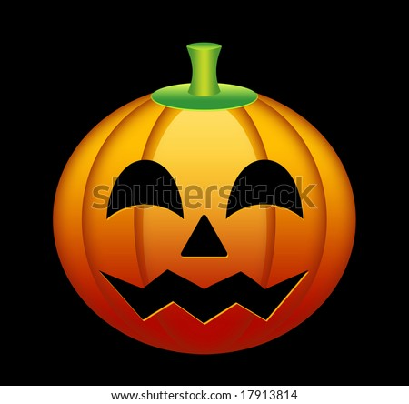 Cheerful orange pumpkin with the cut out eyes, a nose and a mouth. Decoration for Halloween. The object is located on a black background - stock photo