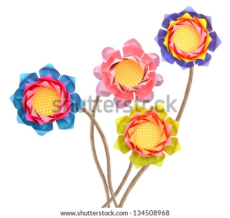 Cheerful paper lotus origami branches isolated white background - stock photo