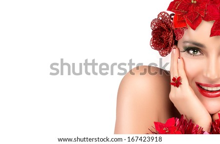 Cheerful party girl with holiday makeup and manicure. Floral hairstyle isolated on white background. Close up of half face. - stock photo