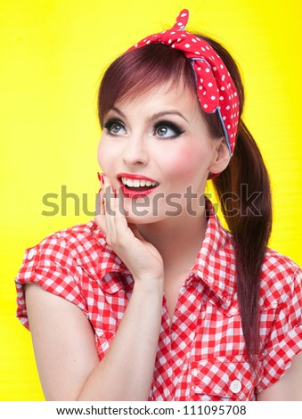 Cheerful pin up girl - retro style portrait - stock photo