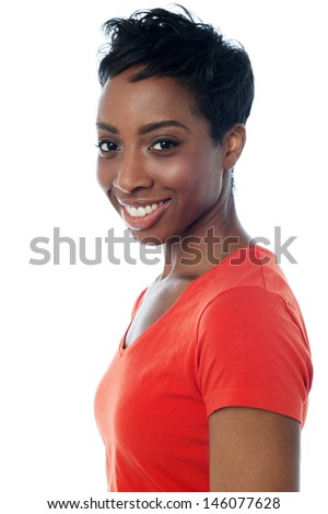 Cheerful portrait of a fashionable female - stock photo