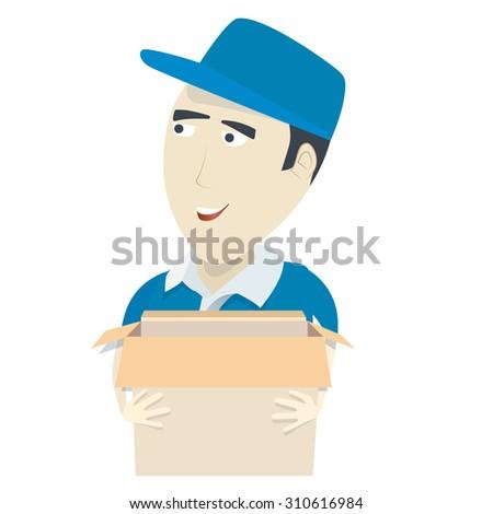 Cheerful postman isolated - stock photo