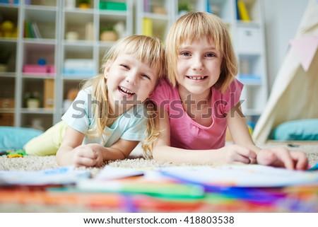 Cheerful preschoolers - stock photo