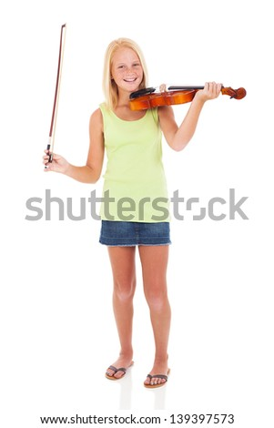 cheerful preteen girl with violin and bow on white background