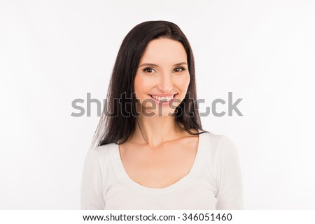 Cheerful pretty cute girl in white shirt - stock photo