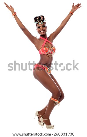 Cheerful samba woman dancer with arms wide open - stock photo