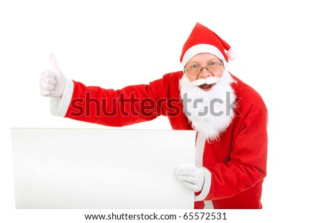 cheerful santa claus with big blank card - stock photo