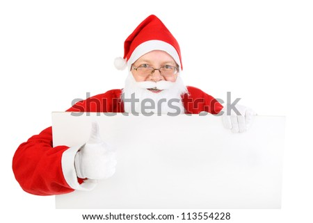cheerful santa claus with big blank paper. isolated on the white background