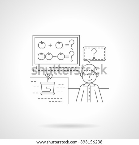 Cheerful school boy near a blackboard with arithmetic exercise with apples. School lessons. Single detailed flat line style icon. Web design elements for business, site, mobile app.  - stock photo