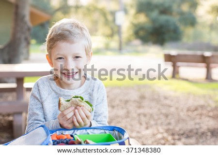 cheerful schoolboy eating healthy lunch outdoor - stock photo