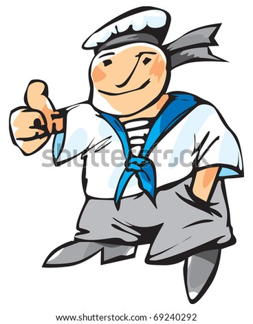 Cheerful seaman with expressive gesture. Raster version. Vector version is also available.