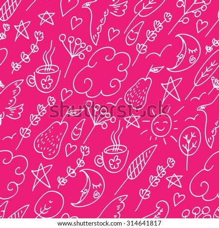 Cheerful seamless children pattern. Simple doodles pattern with many small objects. Doodle pattern on a pink background.