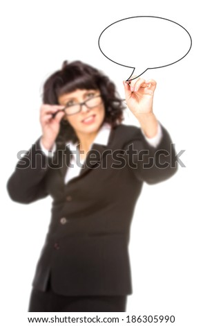 Cheerful senior business woman with pen drawing on virtual whiteboard. Focus on pencil. isolated on white - stock photo