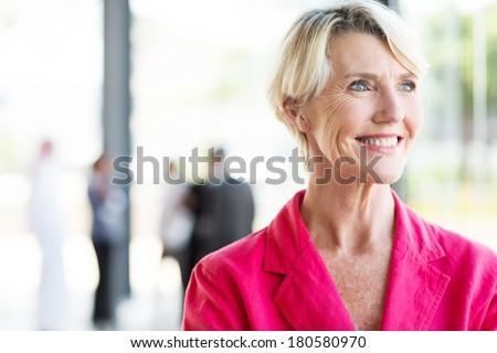 cheerful senior businesswoman standing by office window - stock photo