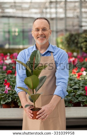 Cheerful senior florist is holding flowerpot at garden center. He is standing and looking at camera happily. The man is smiling - stock photo