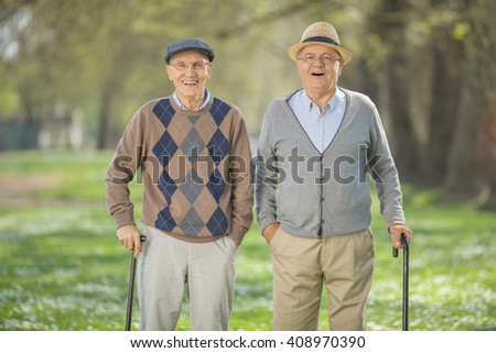 Cheerful senior friends walking in a park on a beautiful sunny day - stock photo