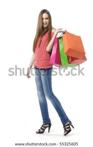 Cheerful shopping girl, - stock photo