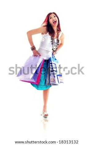 Cheerful shopping girl,isolated on white background - stock photo