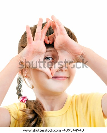 Cheerful Small Girl Isolated on the White Background - stock photo