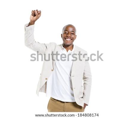 Cheerful Smart Casual Man Celebrating - stock photo