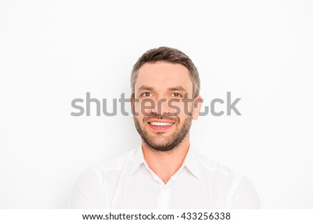 Cheerful smiling happy guy isolated on white background - stock photo