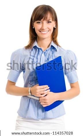 Cheerful smiling young business woman with blue folder, isolated over white background - stock photo