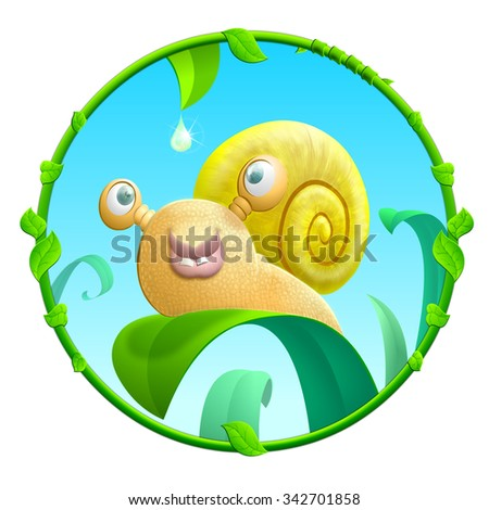 Cheerful snail - stock photo