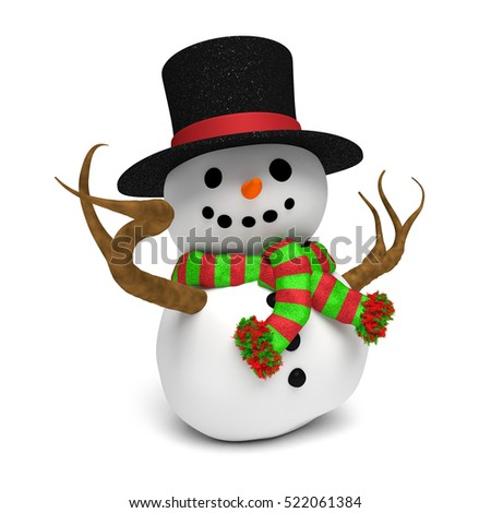 cheerful snowman: cute happy snowman with glittery hat and a red and green striped scarf (3D illustration isolated on a white background)
