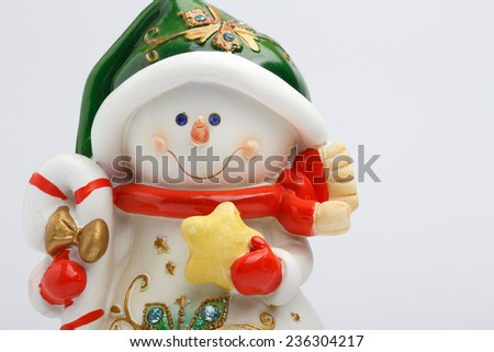 Cheerful snowman on  light background