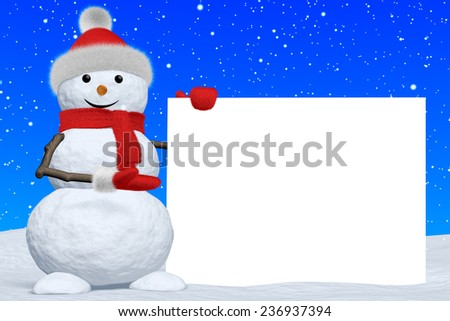 Cheerful snowman shows blank white board in red fluffy hat, scarf and mittens on snow under snowfall, 3d illustration - stock photo