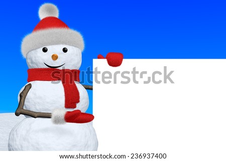 Cheerful snowman shows blank white board in red fluffy hat, scarf and mittens on snow under blue sky, 3d illustration - stock photo