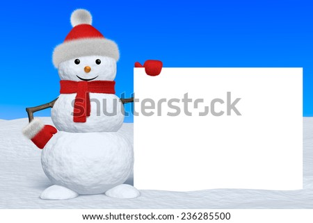 Cheerful snowman with blank white board in red fluffy hat, scarf and mittens on snow under blue sky, 3d illustration - stock photo