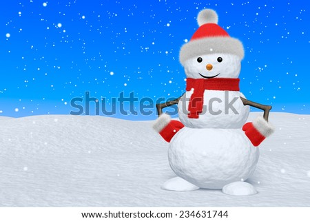 Cheerful snowman with red fluffy hat, scarf and mittens on snow under blue sky and snowfall, 3d illustration - stock photo