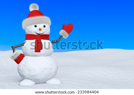 Cheerful snowman with red fluffy hat, scarf and mittens on snow under blue sky pointing to copy-space, 3d illustration - stock photo
