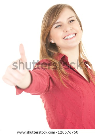 cheerful teenage girl  with thumb up, white background