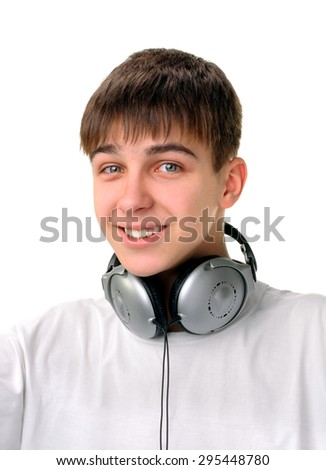 Cheerful Teenager with Headphones Isolated on the White Background - stock photo