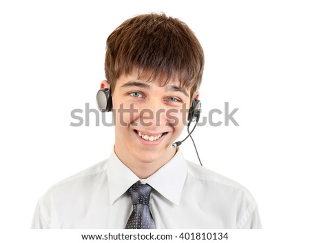 Cheerful Teenager with Headset Isolated on the White Background - stock photo