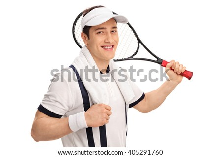 Cheerful tennis player in a white shirt holding a racket and looking at the camera isolated on white background - stock photo