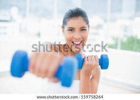 Cheerful toned brunette boxing dumbbells towards camera in bright room - stock photo