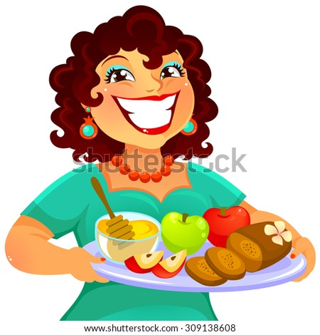 cheerful woman carrying foods for Rosh Hashanah - stock photo