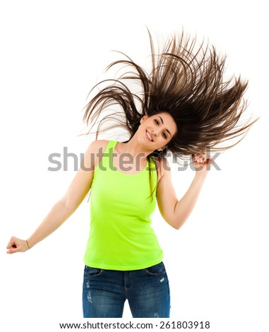 photo cheerful woman flipping hair while dancing isolated white background