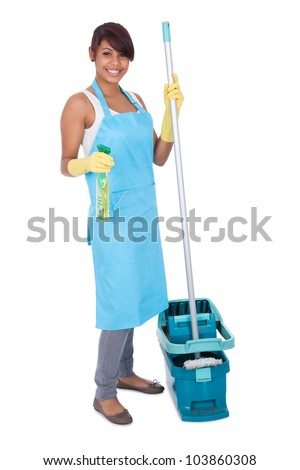 Cheerful woman having fun while cleaning. Isolated on white
