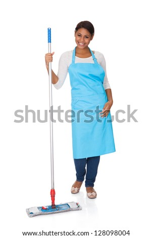 Cheerful Woman Having Fun While Cleaning. Isolated On White - stock photo